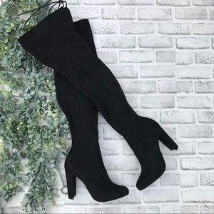 Philipa Over-the-Knee Black Suede Boots #7/5